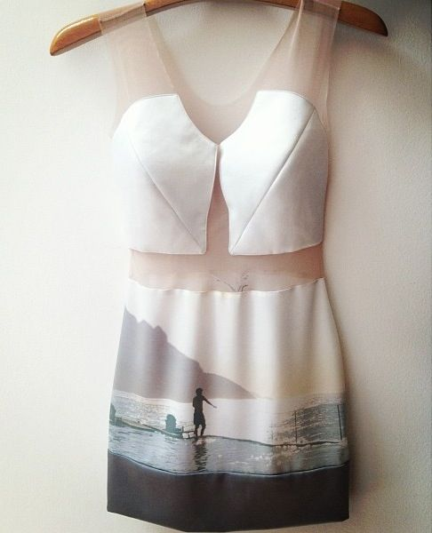 Photographic landscape print dress in soft muted colours; scenic printed fashion // Gloria Coelho