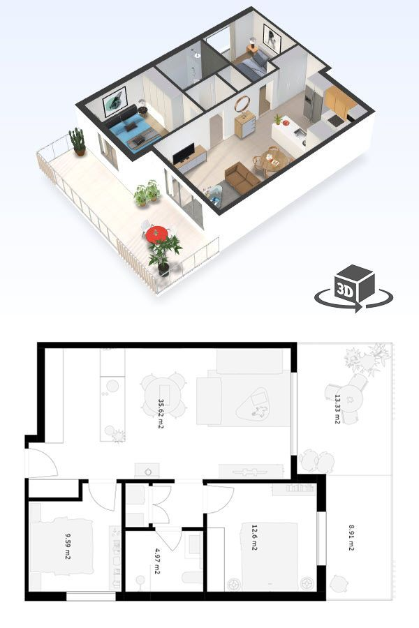 2 Bedroom Apartment Floor Plan In Interactive 3d Get Your Own 3d Model Today At Small Apartment Floor Plans 2 Bedroom Apartment Floor Plan Studio Floor Plans