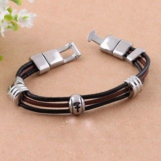 Charming Leather 3 Ring Cross Beads Male Bracelets