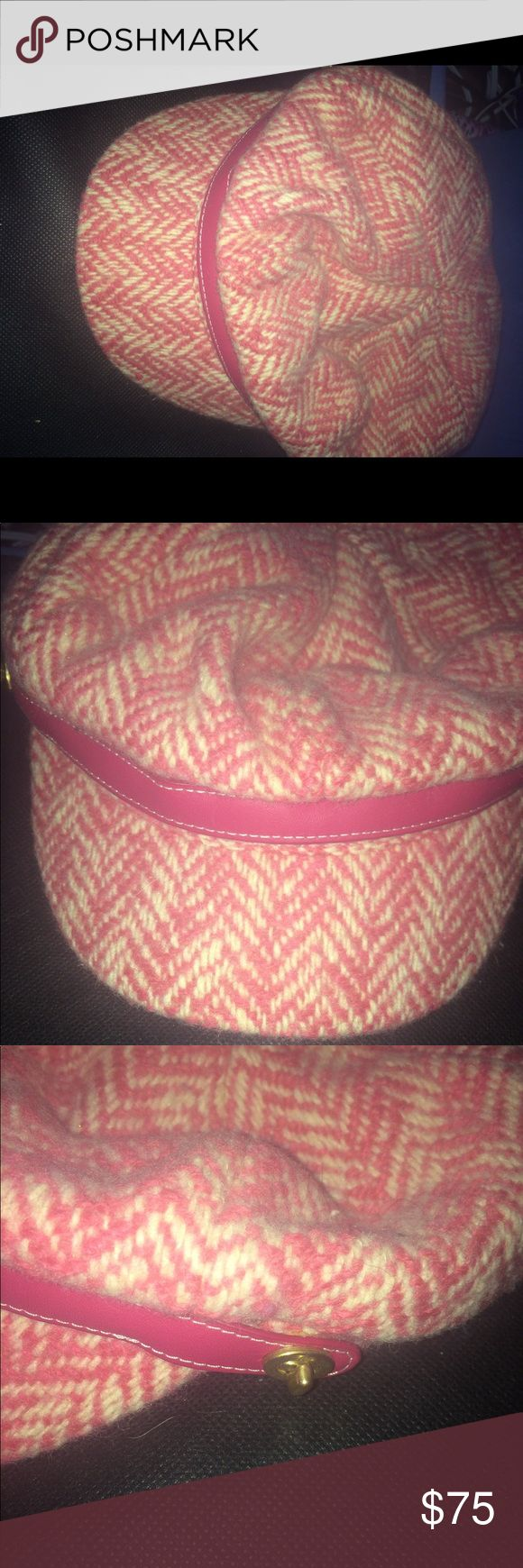 Pink coach hat cute can wear with outfits Coach women's pink wool gatby newsboy cap hat pink leather trim gold accent. Price as marked. Only bundle offers Coach Accessories Hats