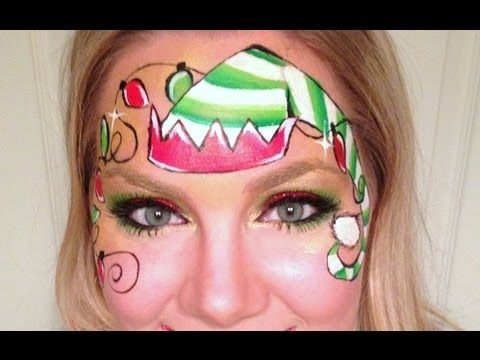 A cute and whimsical elf face painting thats great for both boys and girls!  Products Used: Paint - FAB gold, Wolfe black, white, and red, TAG light green and dark green Glitter #6 Loew Cornell golden grip, #0 round, 1/2 flat One Stroke Face painting sponge