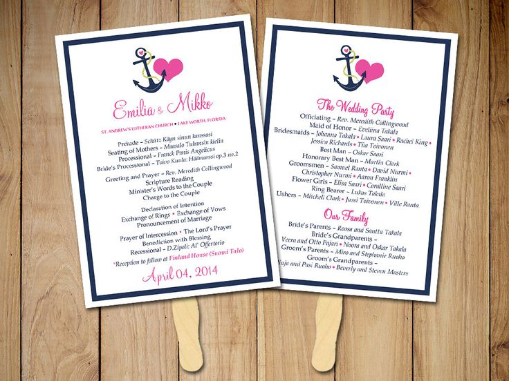 beach wedding fan program template nautical ceremony program