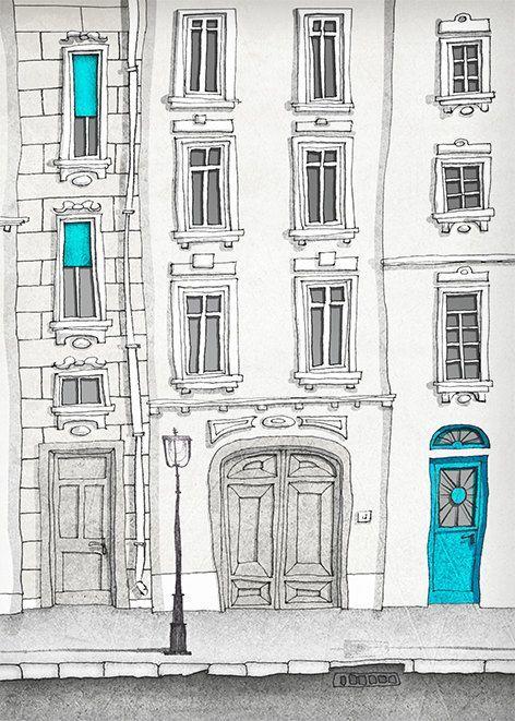 SALE Paris illustration The magic door vertical version by tubidu