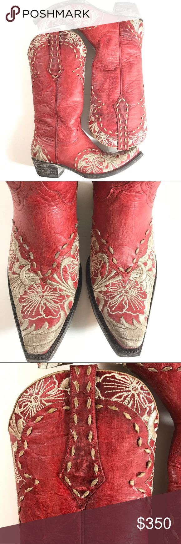 Old Gringo Women's Erin Cowboy Boots Size 7.5B Old Gringo Women's Erin Cowboy Boots Red-bone Size 7.5B With Box Very good condition stitching looks great overall there is one spot where stitching is frayed slightly at tip of one boot see photos for close ups Old Gringo Shoes