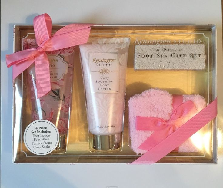 Woman's 4 Piece Packaged Gift Set Foot Wash And Lotion Pumice Stone Cozy Socks  | eBay