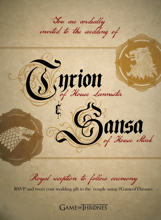 Repin to RSVP to Tyrion and Sansa's special day. What gift would you get the happy couple? #gameofthrones #tyrion #sansa #wedding
