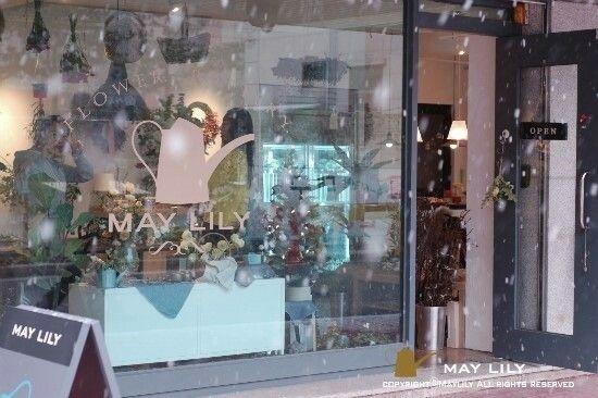 snowy day. flower shop  maylily