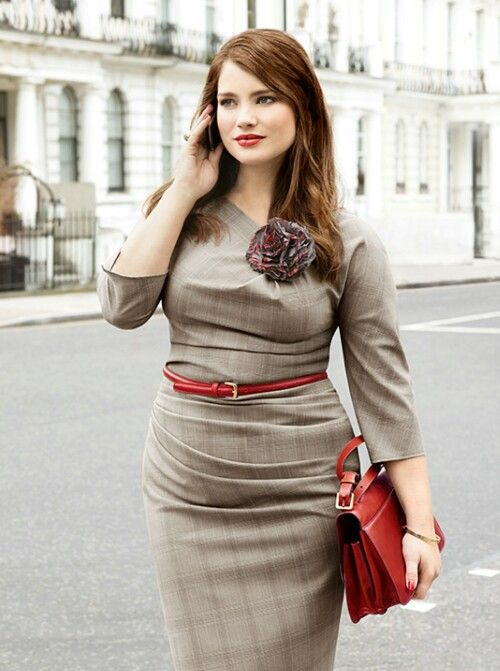 Career Girl ~Full figured ~taupe & red - nice sleeve length- love the  burgundy flower, stripes are going the right way