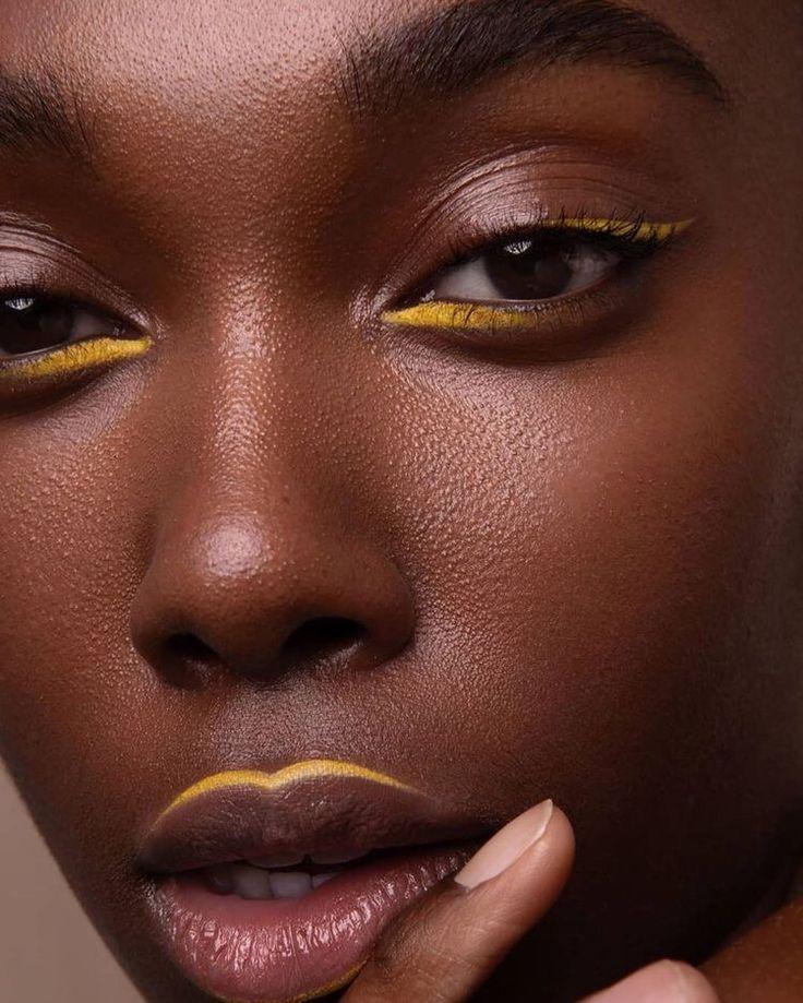 Makeup Goals, Makeup Inspo, Makeup Art, Makeup Inspiration, Beauty Makeup, Black Girl Makeup, Girls Makeup, Yellow Makeup, Graphic Eyeliner