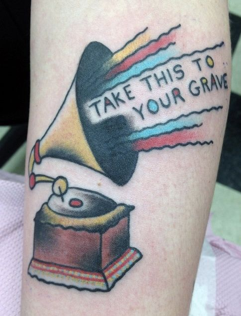 Traditional Record Player Tattoo with Lettering