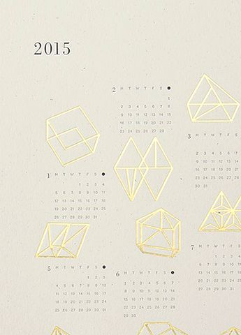2015 Gold Foil Prisms Calendar, Julia Kostreva