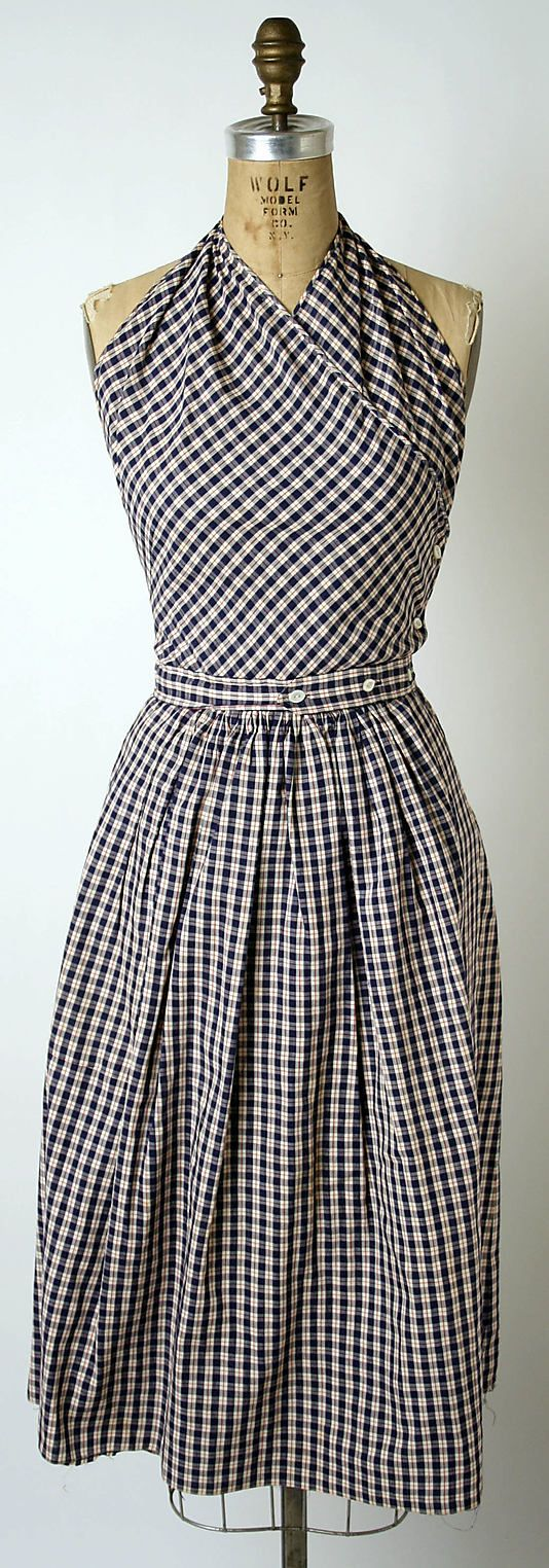 Sundress | Claire McCardell (American, 1905–1958) |  Manufacturer: Townley Frocks (American) | Date: 1943 | Culture: American