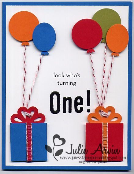 Boy's 1st Birthday card (outside) by Julie Bug - Cards and Paper Crafts at Splitcoaststampers