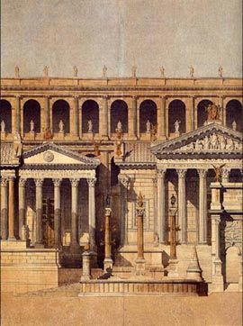 This delivery of Moyaux belongs to his fourth year in Rome, a hypothetical reconstruction of the Tabularium and the Roman Forum.