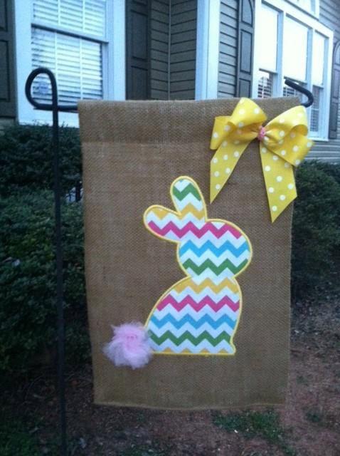 Bunny Burlap Garden Flag  by ThePreppyPineappleSC on Etsy, $22.00