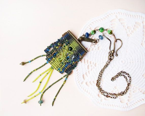Unique micro macrame necklace - Green Chartreuse Bronze Blue Nature inspired - Freeform Beadwork OOAK Bohemian