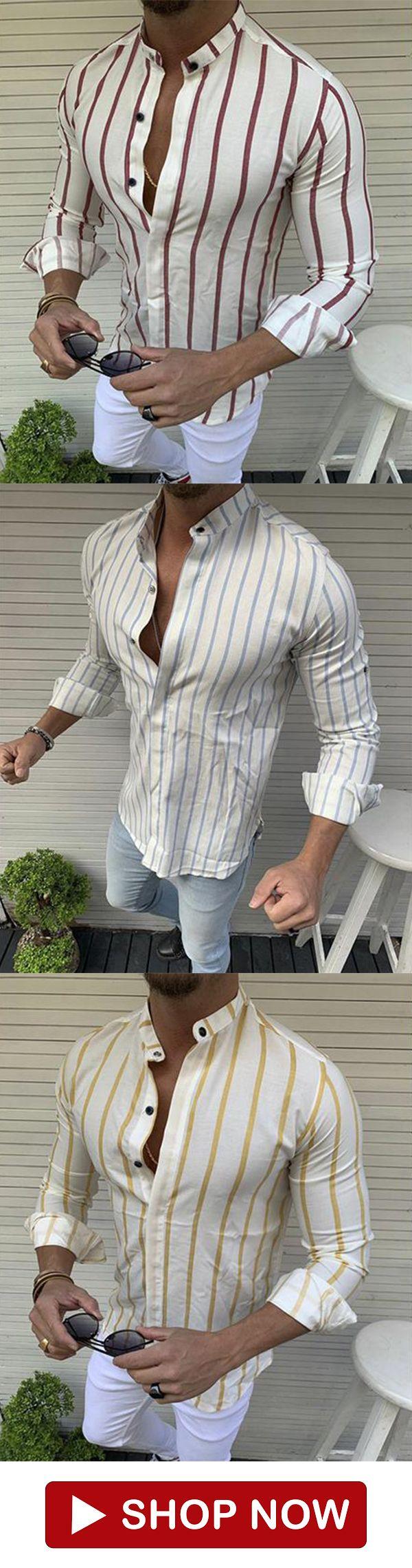 Men's Solid Color Buttoned Lapel Shirt