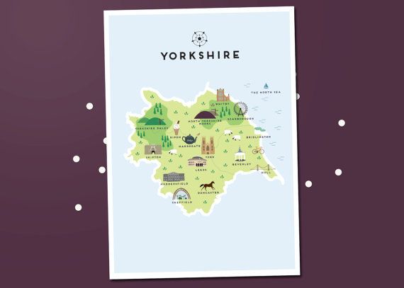Yorkshire Map  Illustrated map of Yorkshire by PepperPotStudios
