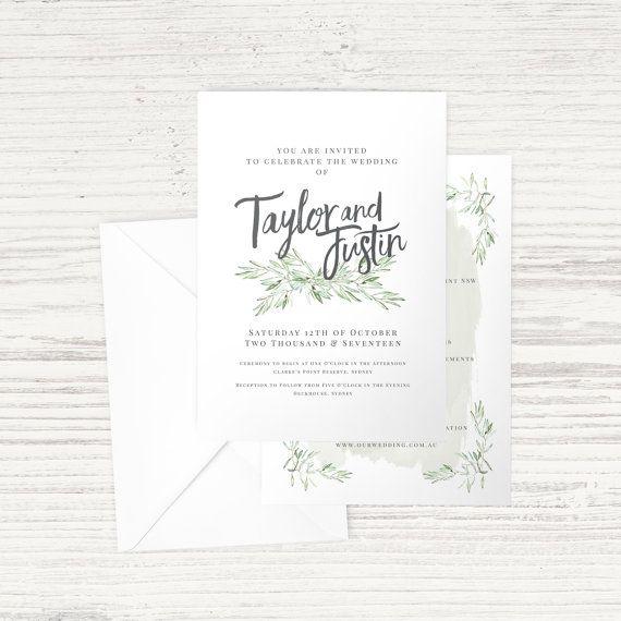 'Olive Leaf' A5 Wedding Invitation - Green & Grey - Single and Double Sided Options - Custom Design