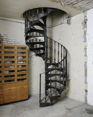 Spiral stair to basement attic home sweet home pinterest for Spiral staircase to attic