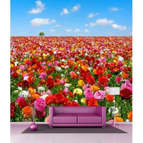 Sticker mural géant Champ de Fleurs H 2,6 x L 2,6 mètre