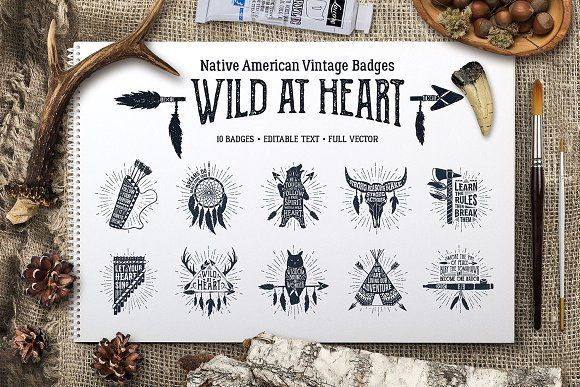 Wild at Heart (Vintage Badges/part1) by Cosmic Store on @creativemarket