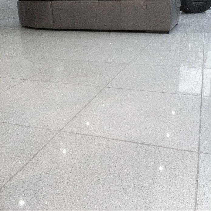 White Quartz Kitchen Floor Tiles