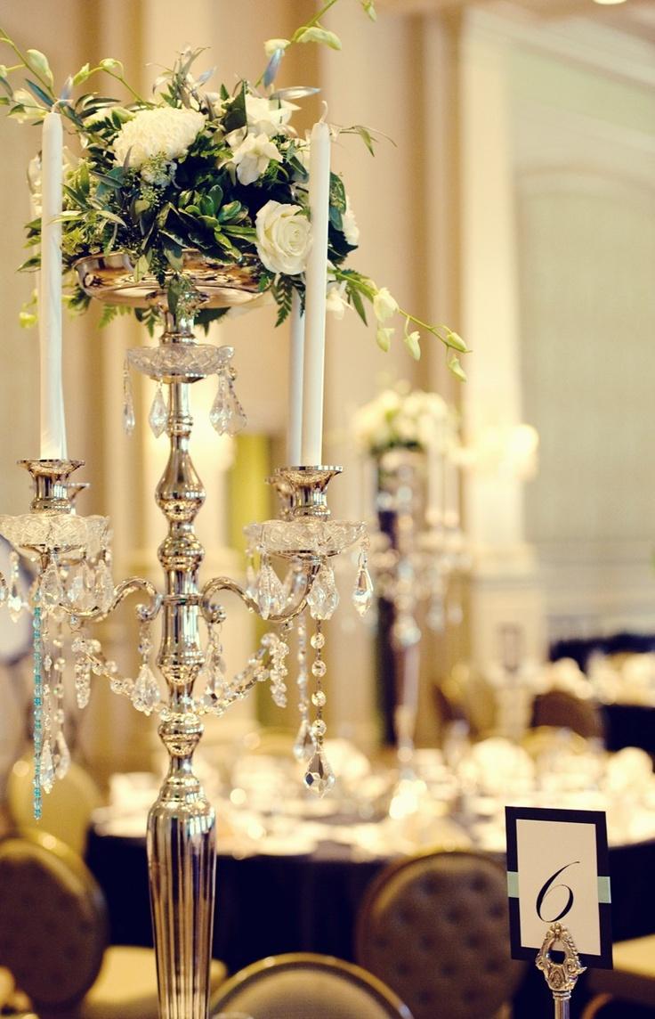 Ornate & tall, silver and crystal adorned candleabras for a country club wedding    Gorgeous photo by Swank Photo Studio | http://brds.vu/xj2tNE via @BridesView :) #wedding #photography