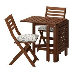 ÄPPLARÖ, Table and 2 folding chairs, outdoor, brown stained, Stegön beige