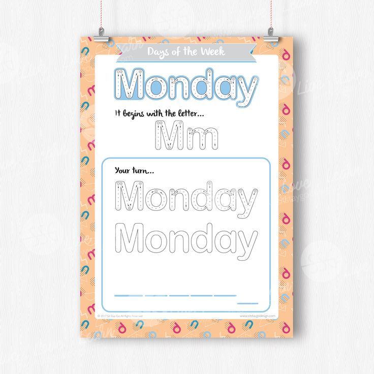 Sit Stay GO Days of the Week - Writing activities - Sit Stay GO