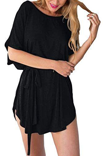 846c7297f2f YOINS Femmes Robe Courte Sexy Dress Chic Mini Robe Été Décontractée Chemise  Robe Manches Courtes Col