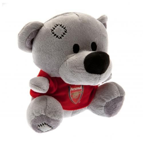 Plush Arsenal teddy bear wearing a red t-shirt with the club crest on it. Soft to touch with stitched features. FREE DELIVERY