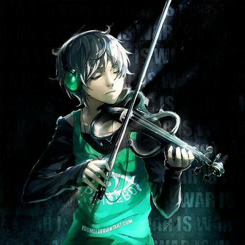 Anime boy, playing, electric violin - 43.0KB