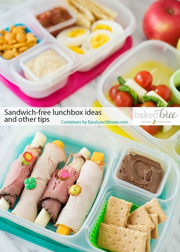 Sandwich Free Lunch Box Ideas and Other Tips   packed in @EasyLunchboxes containers