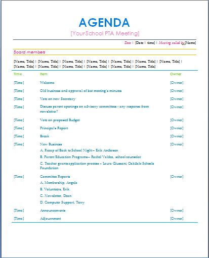 Conference Agenda Sample Best  Pta Meeting Ideas On