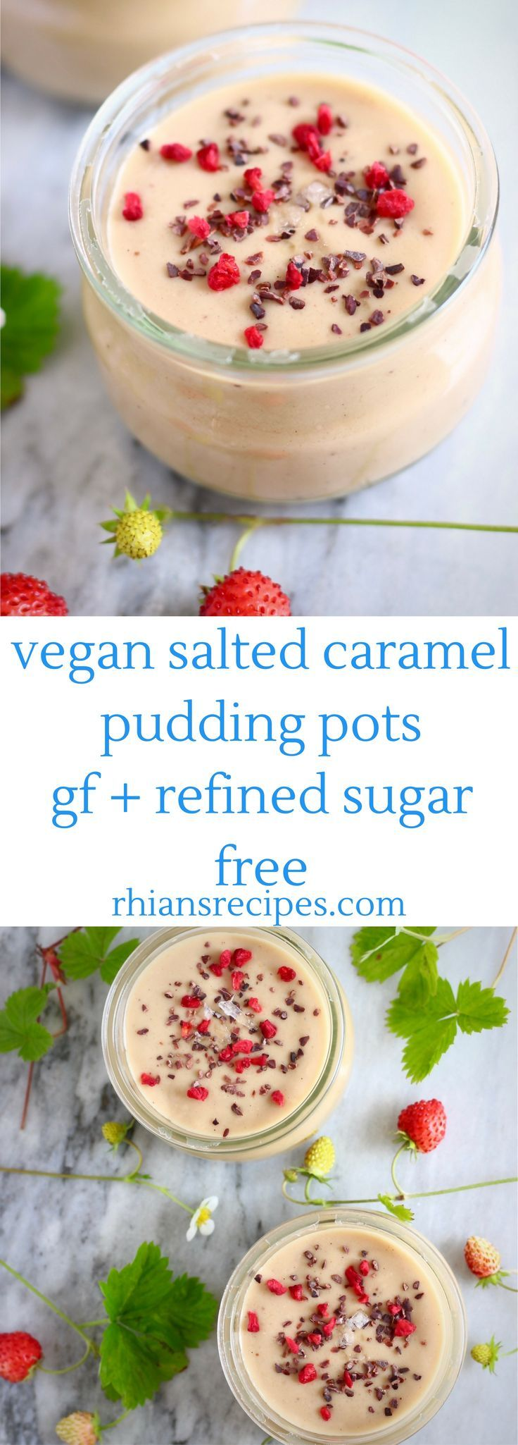 Vegan Salted Caramel Pudding Pots - 6 ingredients, refined sugar free, gluten-free, nut-free optional! Made with a coconut sugar caramel and no blender required!