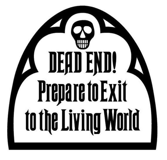 The Haunted Mansion, DEAD END sign vinyl decal , sticker