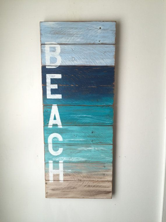 BEACH painted on reclaimed wood Total dimensions: 12 x 30 1/4