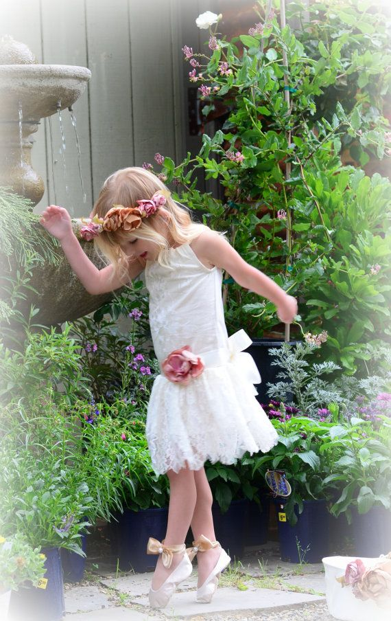 Blush Pink Ivory Lace Flower Girl Dress Flower Crown and Shoes by Hopefully Romantic
