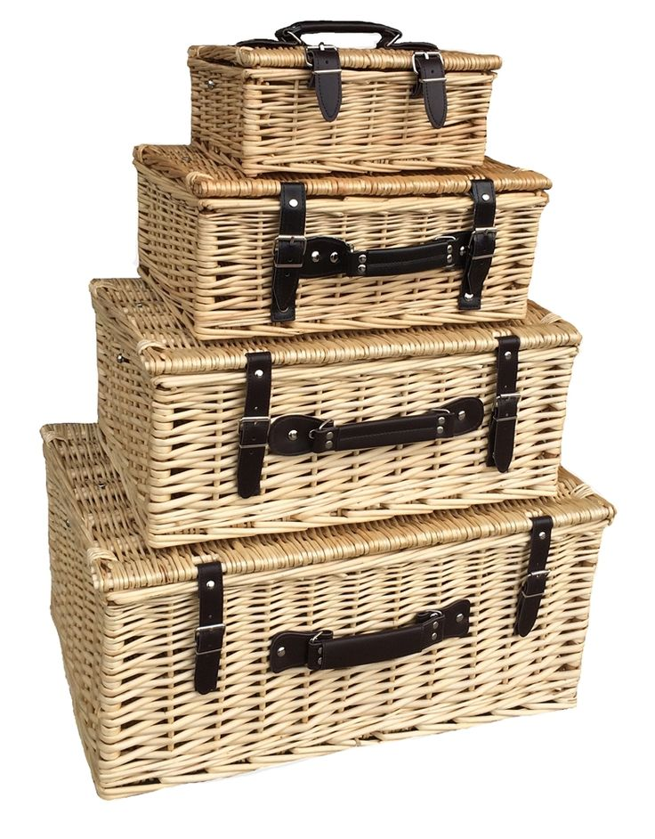 red hamper set of 4 wicker empty picnic baskets http