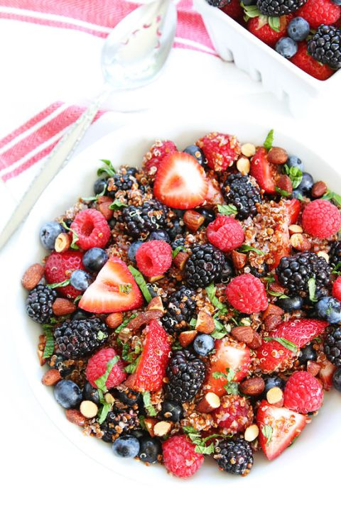 Berry Quinoa Salad Recipe on twopeasandtheirpod.com This easy and healthy fruit salad is great for breakfast, snack time, or served as a side dish!