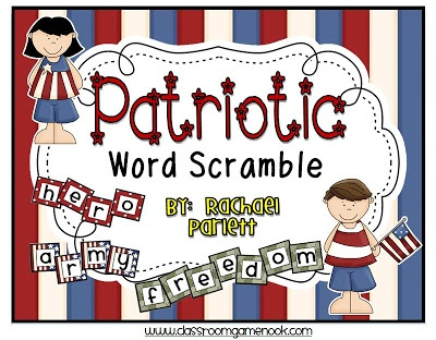 Classroom Freebies Too: Patriotic Word Scramble Center Game