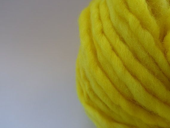 Very Yellow  Wool Yarn  Bulky Weight by deorigenchile on Etsy, $20.00