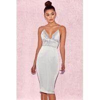 'Ronel'  Grey Satin Pin Tuck Dress