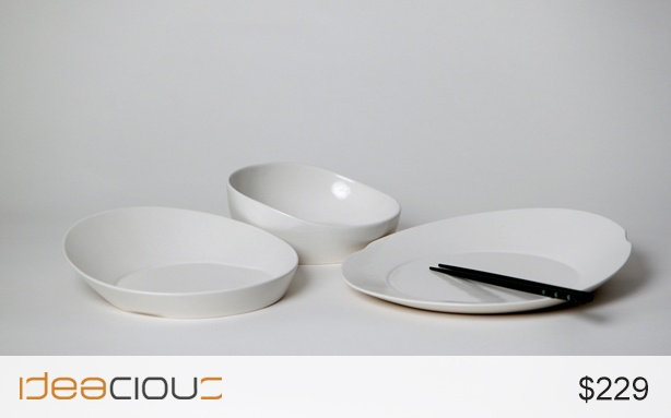 Dinnerware by Khalil Jamal | Asymmetrical and stackable, this three-piece ceramic set serves up an artful dinner. $229. #vessels #utensils #ceramic #bowls #kitchen #home
