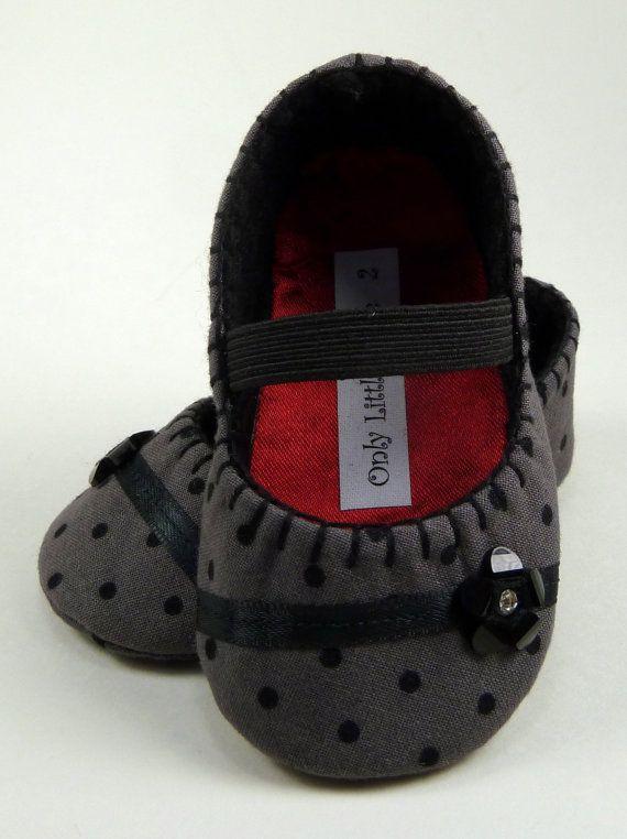 Baby Calçados - Meninas cinza com bolinhas pretas mary janes dot