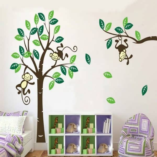 Description : Monkey On Tree Art Removable Wall Stickers Baby Room Home  Decal Decor This Wall Decal Will Go On Any Smooth, Flat, Dry And Dust Free  Surface, ... Part 47