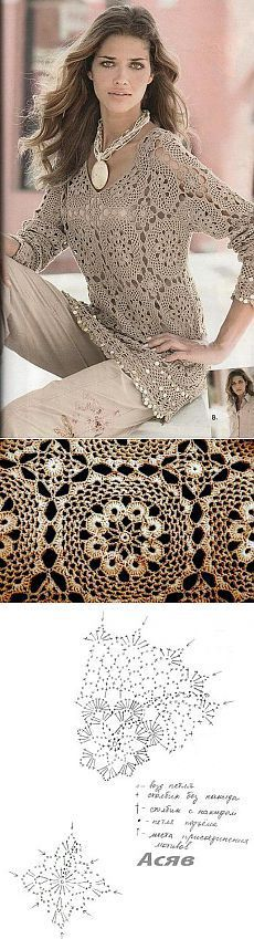 Crochet for Women scheme Crochet tunic scheme. | Laboratory household