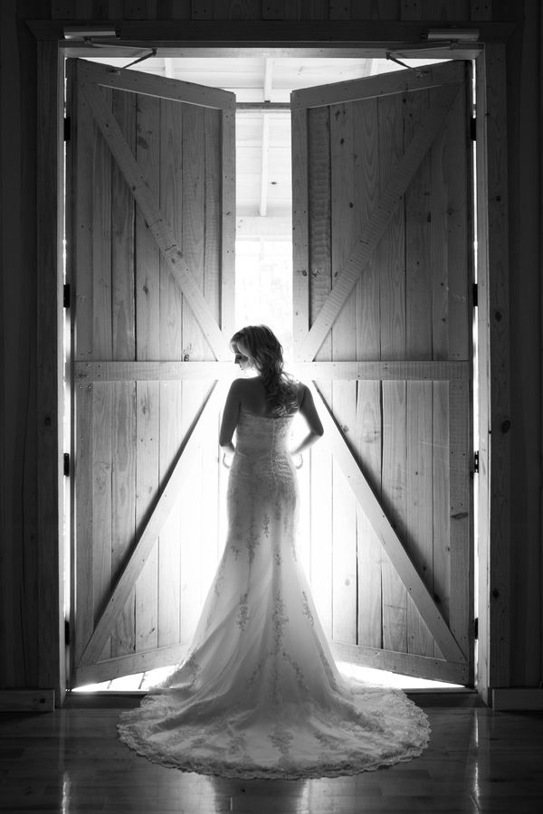 Bridal portrait with barn doors shedding backlight- UMMM perfect!