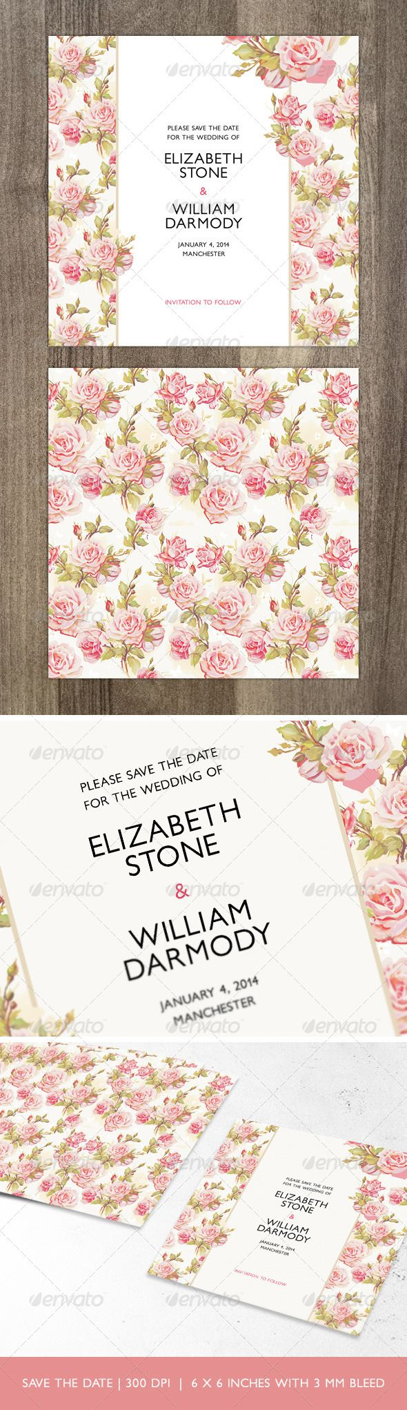 Printable, fully customisable romantic Save the Date card.  https://graphicriver.net/item/romantic-floral-save-the-date/5935657